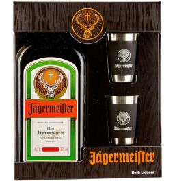 "Ликер ""Jagermeister"", gift box with 2 steel glasses, 0.7 л"