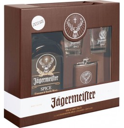 Ликер Jagermeister Spice (Winterkrauter), gift box with 2 glasses and flask, 1 л